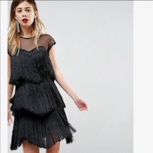 ASOS black fringe flapper dress